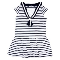 Striped dress with sailor collar