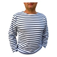 Marinière adulte manches longues rayée blanc/marine