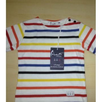 Children striped breton Multico white (short sleeves)