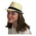 Chapeau paille borsalino style Panama galon uni
